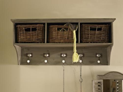 Wooden Hall Coat Rack Storage Unit Baskets And Hooks Shabby Vintage Chic