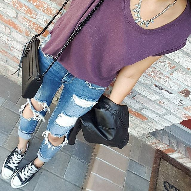 Ripped jeans & the perfect Perry Street accessory!  #RBfromabove by rocksbox