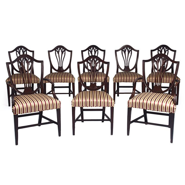 Set Eight Period George Iii Mahogany Hepplewhite Dining