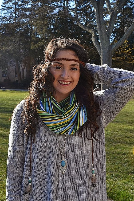 Boho Auburn Suede Braided Headband with Beads and by BizzyBCrafts