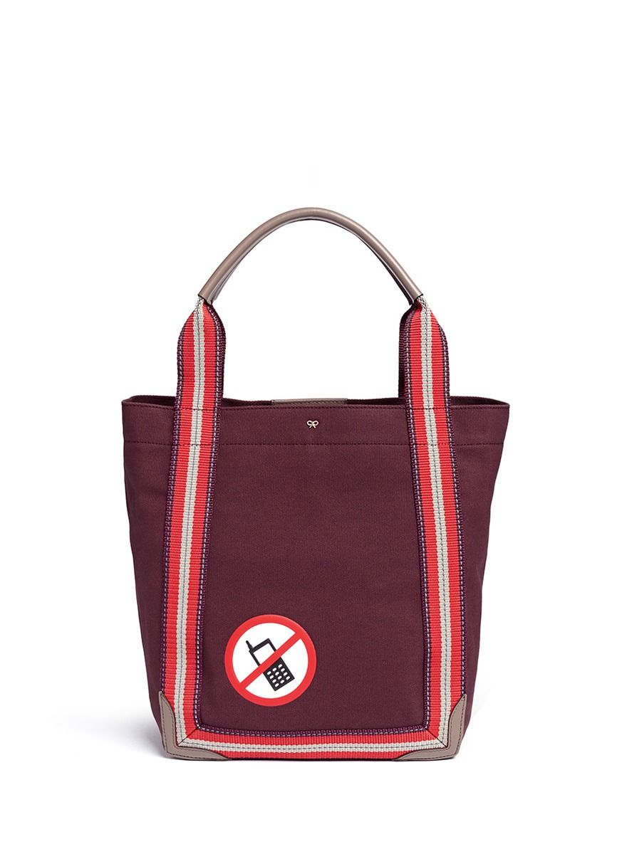 ANYA HINDMARCH - 'No Mobile' small canvas shopper tote | Red Totes