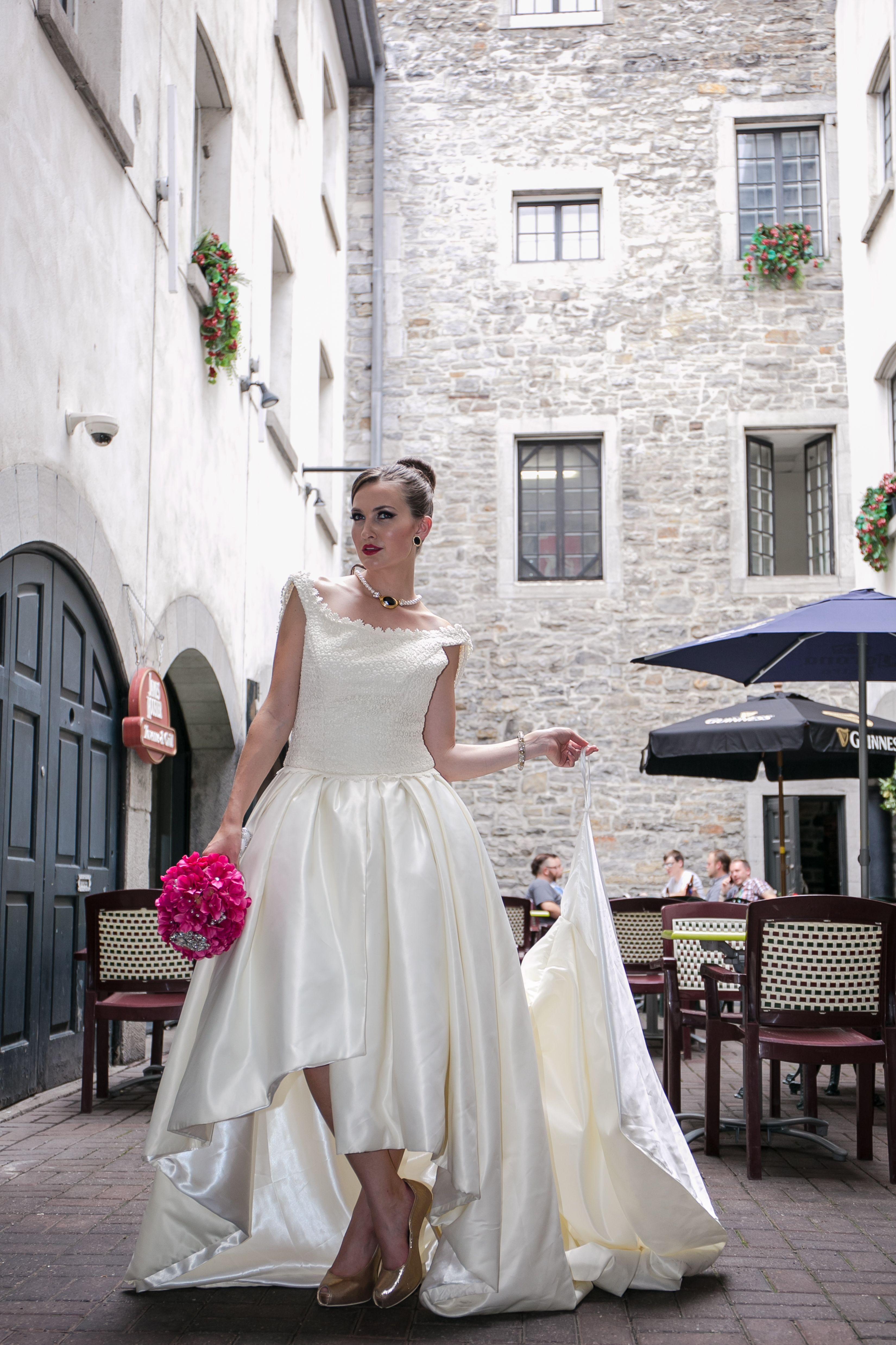 Covered shoulder wedding dresses  Audreyu  Simple elegance Satin skirt cut just below the knee in