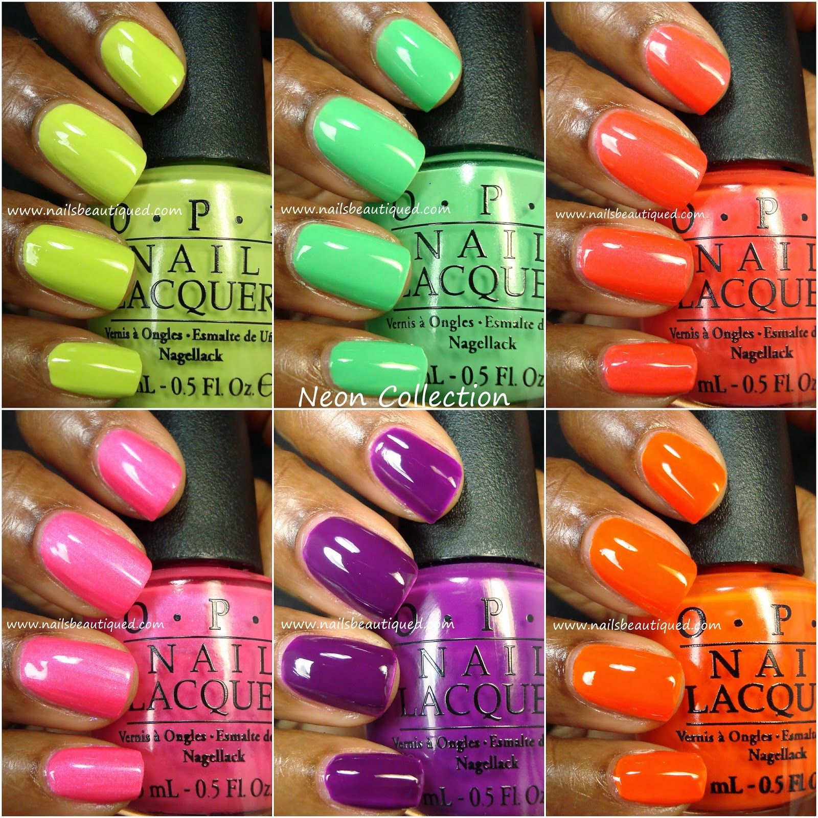 OPI Neon Nail Lacquers & White Base Coat, Swatches and Review ...