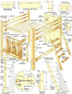 free easy loft bed plans these plans were originally found at woodworkersworkshopcom - Free Loft Bed With Desk Plans