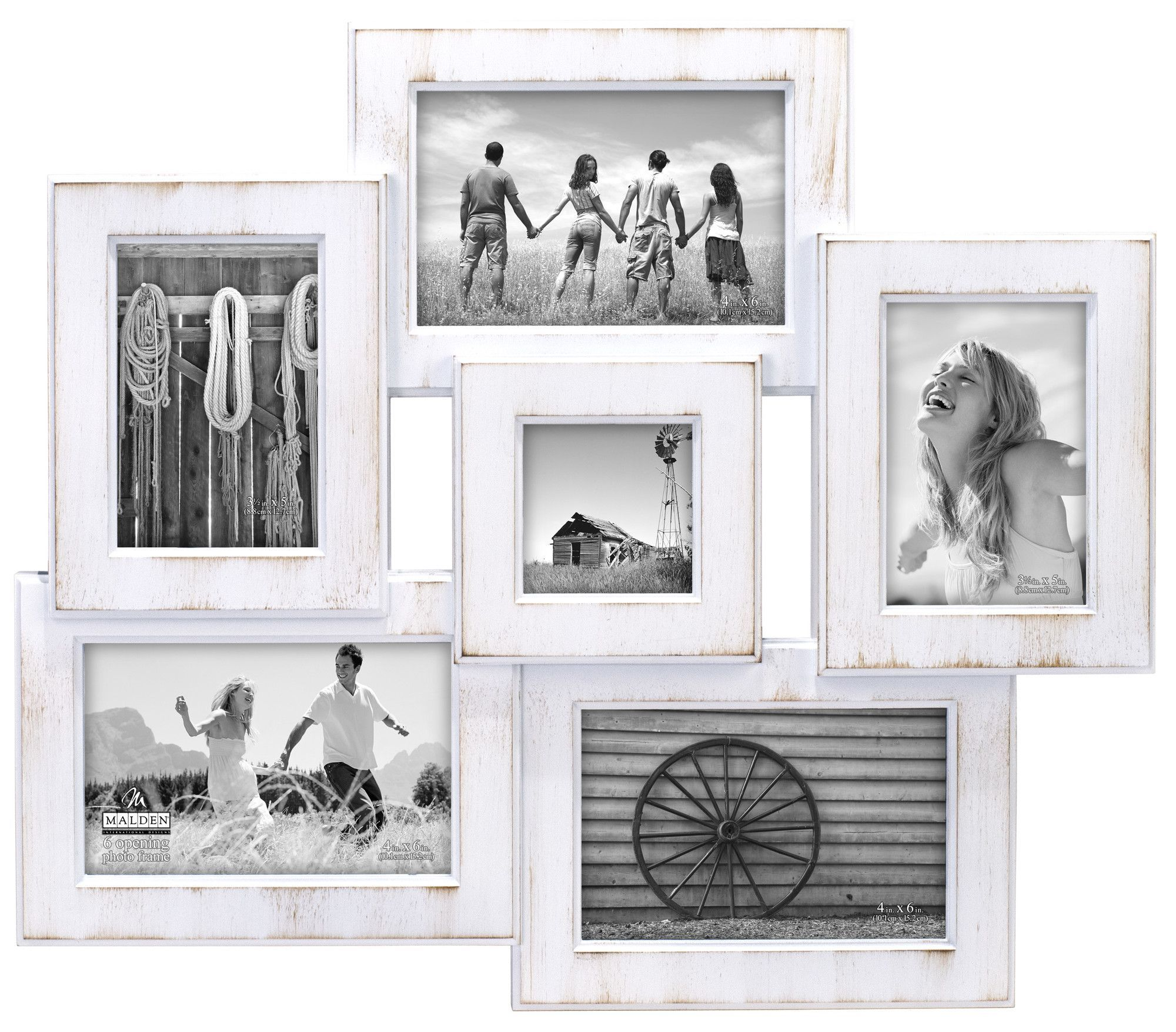 Features holds 6 photos wall hanging only masonite backing malden international designs berkshire beveled 6 opening wall collage picture frame holds x x x photos whitewash jeuxipadfo Images