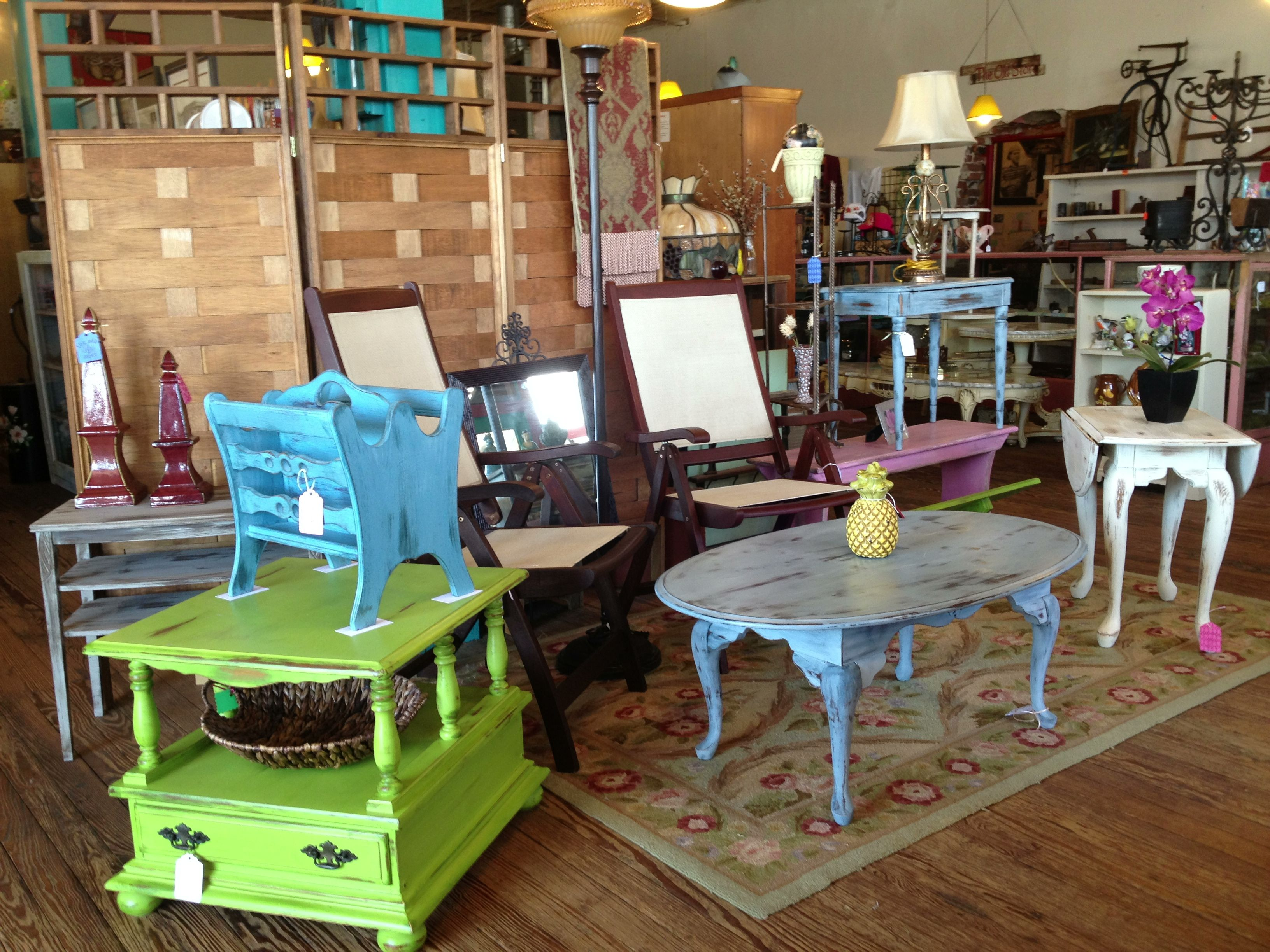 Lime green side table light blue distressed coffee table and blue