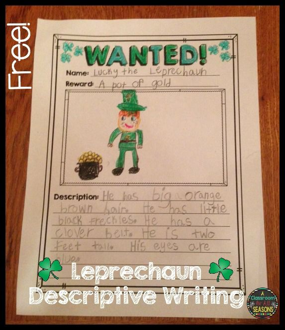 Free! Wanted: Leprechaun! Practice Descriptive Writing And Adjectives  Creating A Wanted Poster For  Create A Wanted Poster Free