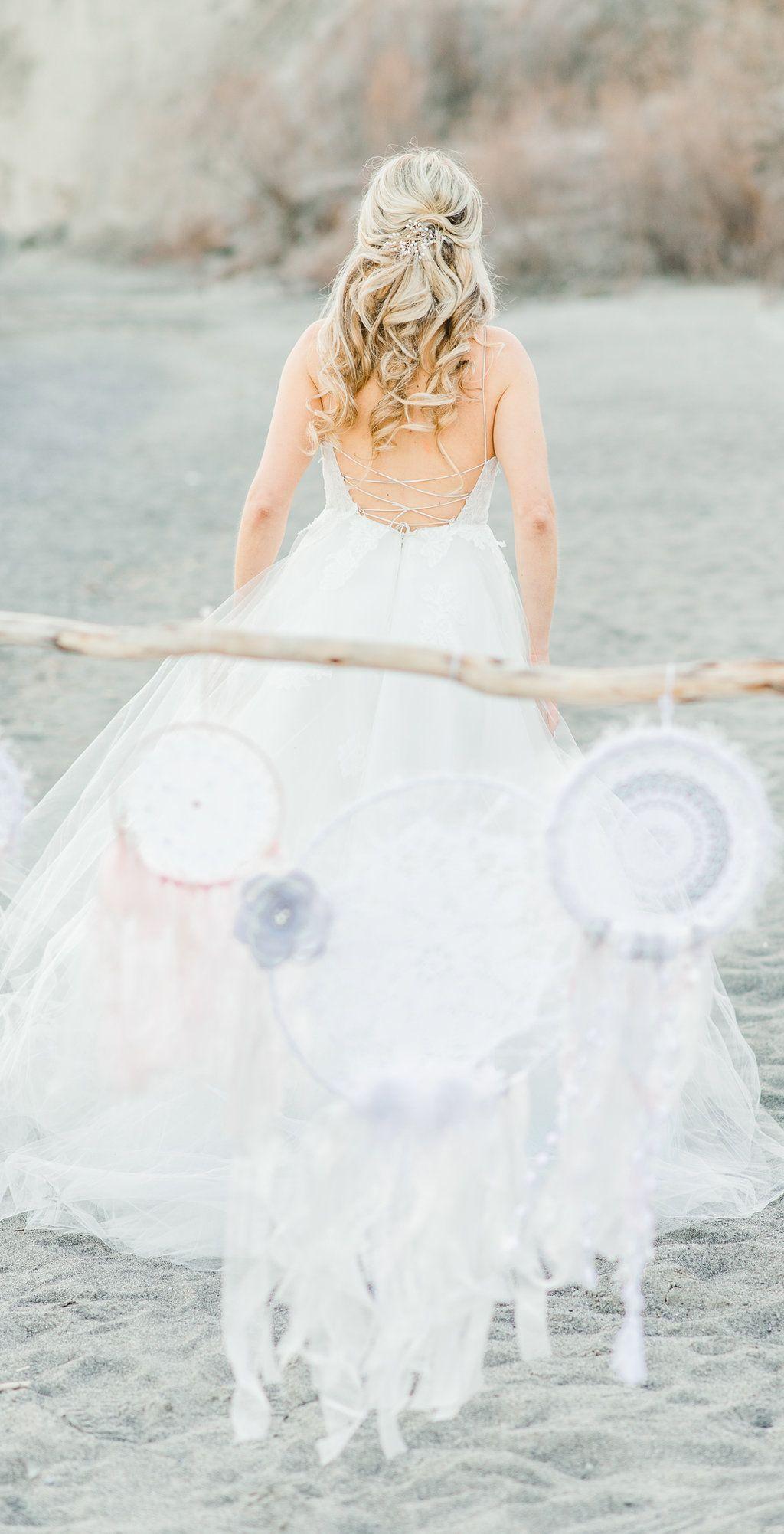 47f304aed0 Dreamy Boho Beach Wedding with Dreamcatchers | Astrid & Mercedes Editorial  | Dress: Astrid & Mercedes Romance | photographer: Christine Grace  Photography ...