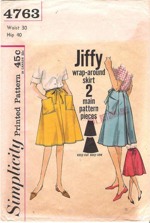 Vintage 1960s Simplicity 4763 Wrap-around Skirt Sewing Pattern ...