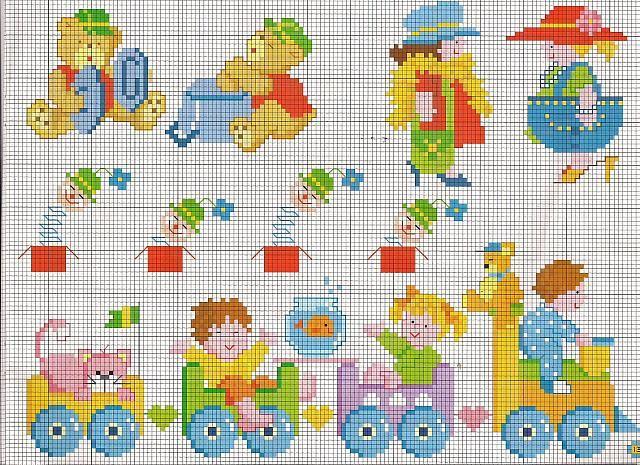Orsetti e bimbi su trenino giocattolo schemi punto croce for Lenzuolini punto croce per bambini