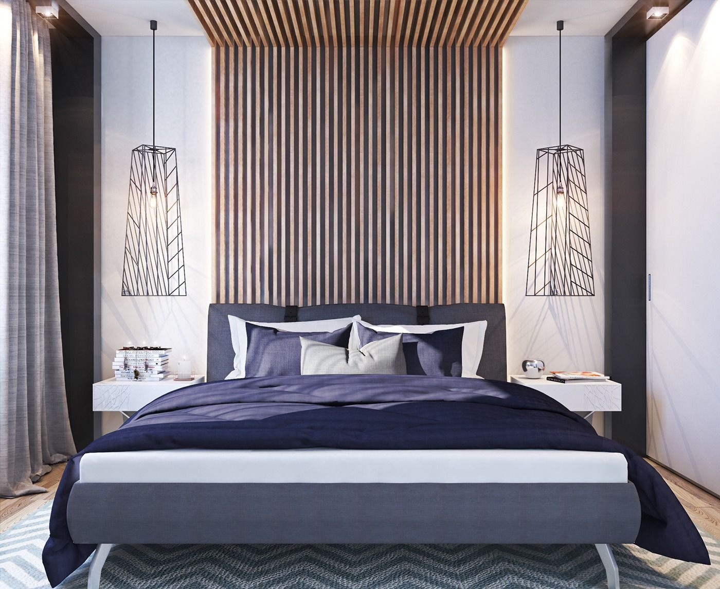 Similarly, the master bedroom is not massive. But simple, relaxing colors like deep purple, gray, and white paired with natural wood makes it easy to settle in for the night, even if there is not a ton of square footage.