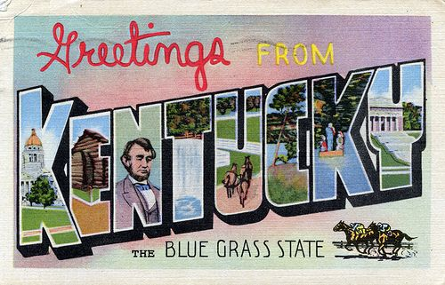 Greetings From Kentucky The Blue Grass State Large Letter Postcard