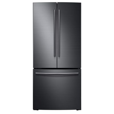 Samsung Black Stainless Steel 21 6 Cu Ft 3 Door French Door Refrigerator Single Ice Maker Black St French Door Refrigerator French Doors Black Stainless Steel