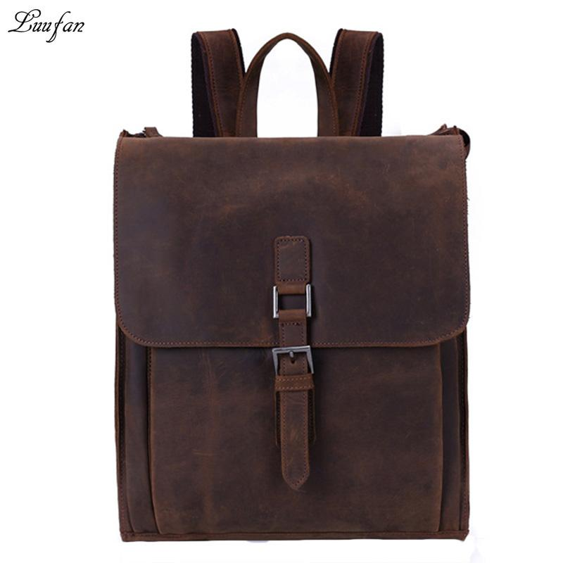 9a91c217c7b2 Men s vintage genuine leather backpack crazy horse leather mens rucksack  durable cow leather school bag work day pack