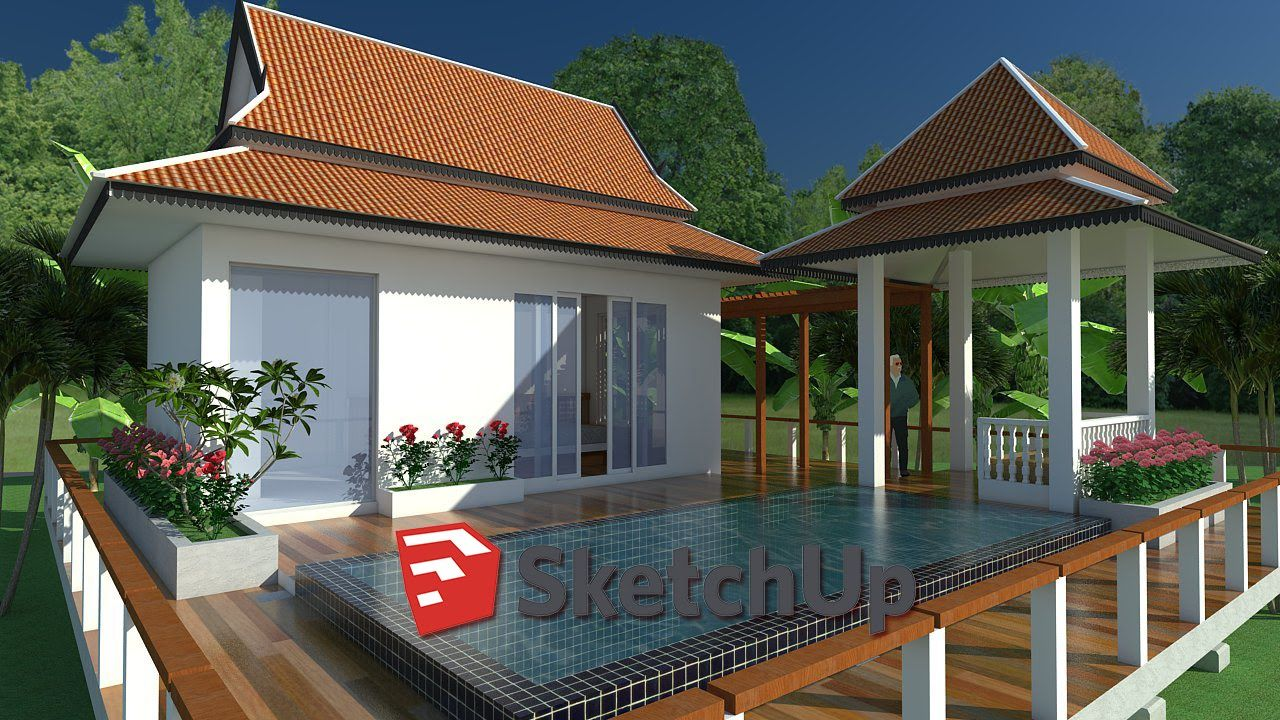 SketchUp Exterior House design with pool | One story homes ...