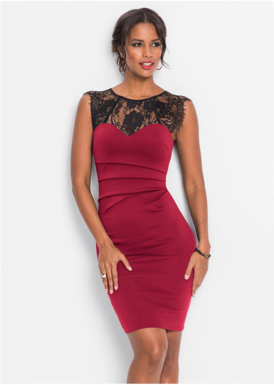 e8bd4aa798ec Förtrollande klänning med spetsinfällning, svart/röd, strl. 36/38. Pris
