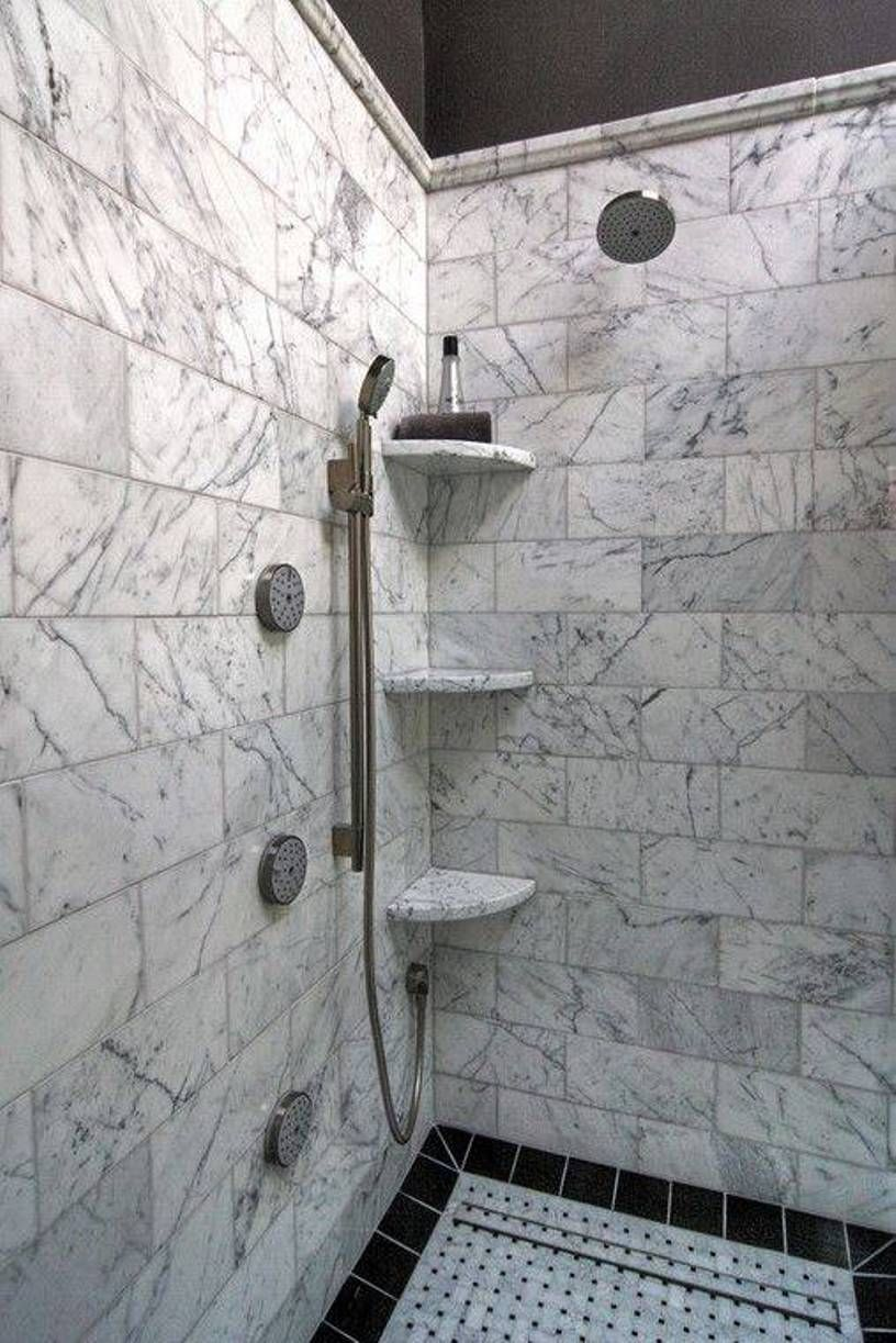 Bathroom , Practical Shower Corner Shelves : Walk Shower With Marble ...