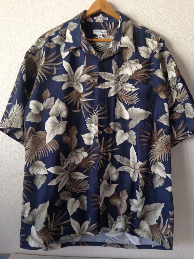 Pierre Cardin Men's Hawaiian Aloha Tiki Button Large Short Sleeve Shirt XXL #PierreCardin #Hawaiian