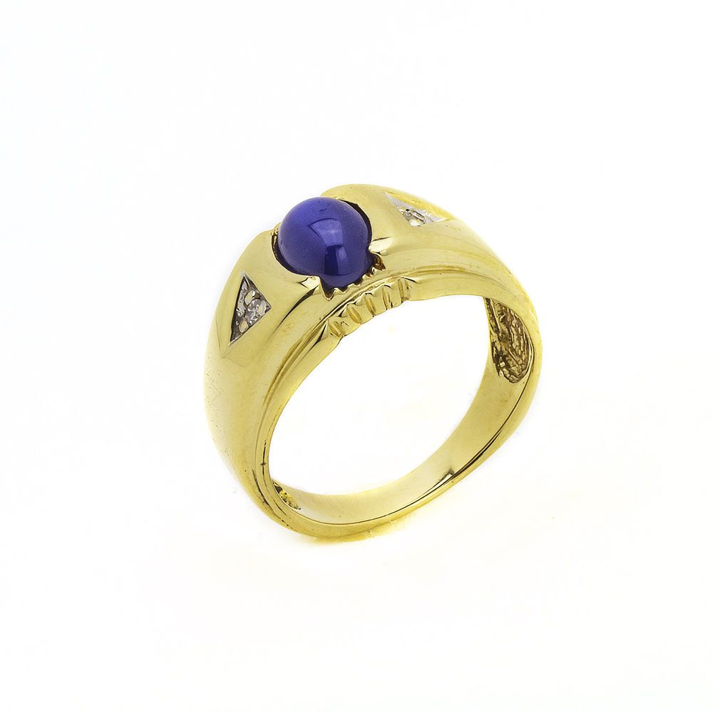 14k Yellow Gold Star Sapphire Mens Pinky Ring Size 7 100