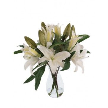 Artificial Lilies In Flared Vase White Height 46cm Faux Flower