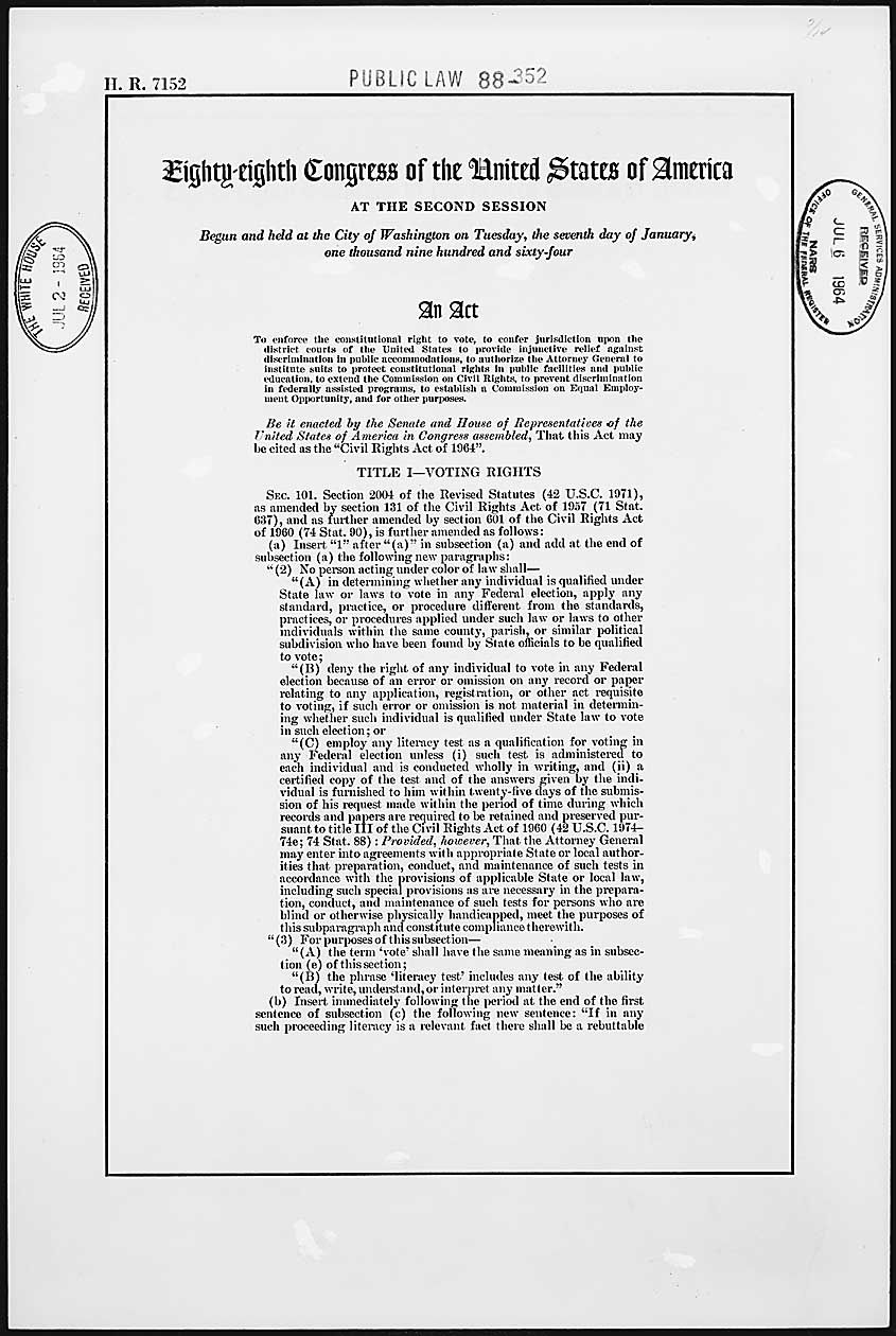 The Civil Rights Act Of 1964 And The Equal Employment Opportunity Commission Civil Rights Act Of 1964 Equal Employment Opportunity Commission Civil Rights