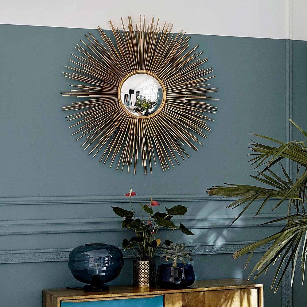 miroir soleil en m tal dor d101 maisons du monde. Black Bedroom Furniture Sets. Home Design Ideas