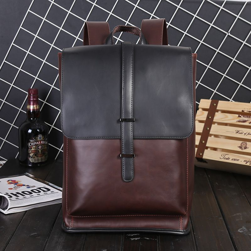 6e51f668c315 Backpacks Leather Men Laptop Travel Backpack 14inch Laptop Backpack For  Teenagers Schoolbag College Bookbag Men mochila hombre