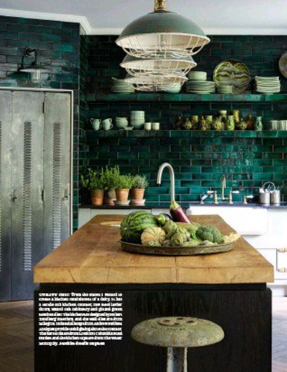 interesting colour scheme i really like these emerald green tiles kitchen easy livin in on kitchen interior tiles id=33140