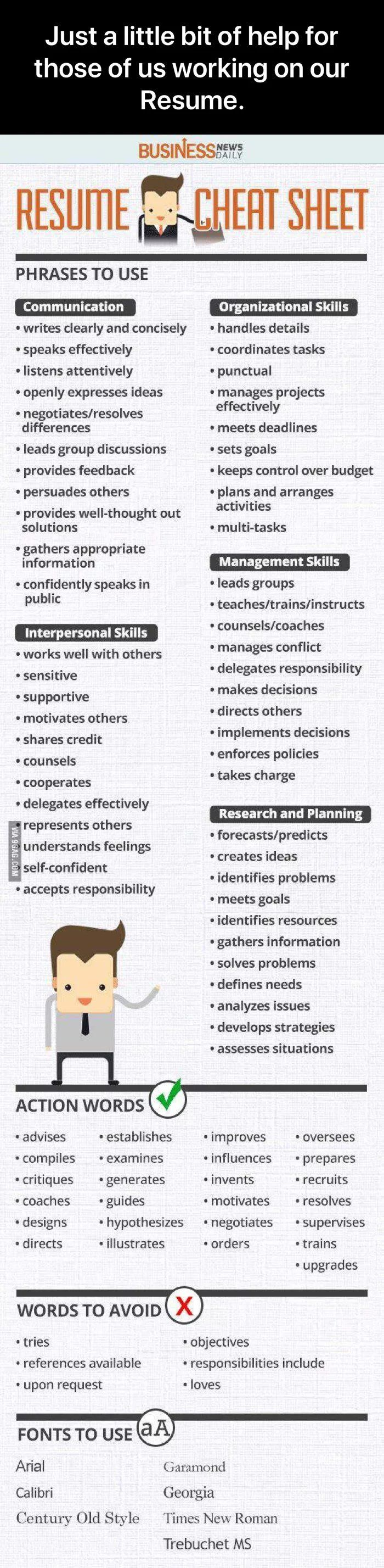 r/coolguides Help for a Resume Management skills