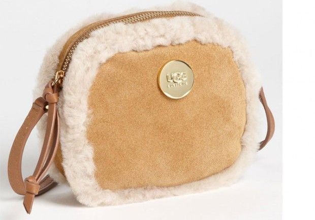 Ugg Australia Shoulder Bag Winter White Suede Shearling Bags And Canvas