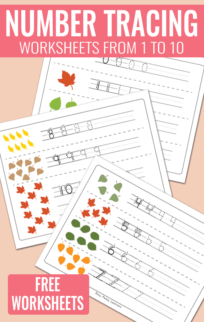 Fall Leaves Number Tracing Worksheets | Activities for Kids ...