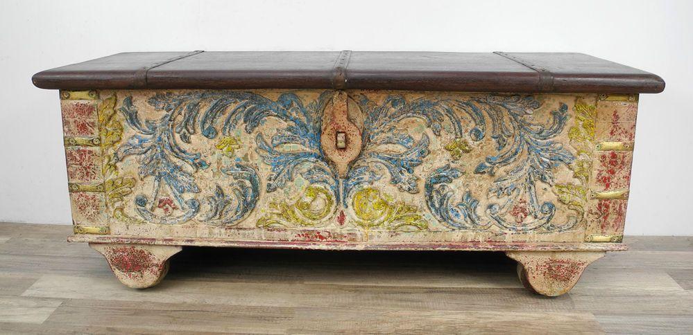 Truhe Kiste Box Schatztruhe Indien Holz Massiv Shabby Chic Antik
