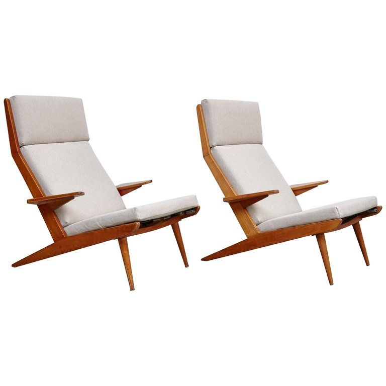 Admirable Pair Of Koene Oberman Mid Century Modern Wood High Back Gmtry Best Dining Table And Chair Ideas Images Gmtryco