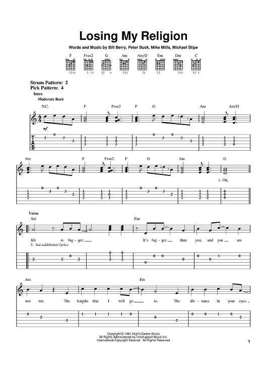 Losing My Religion Sheet Music Free Google Search Musical