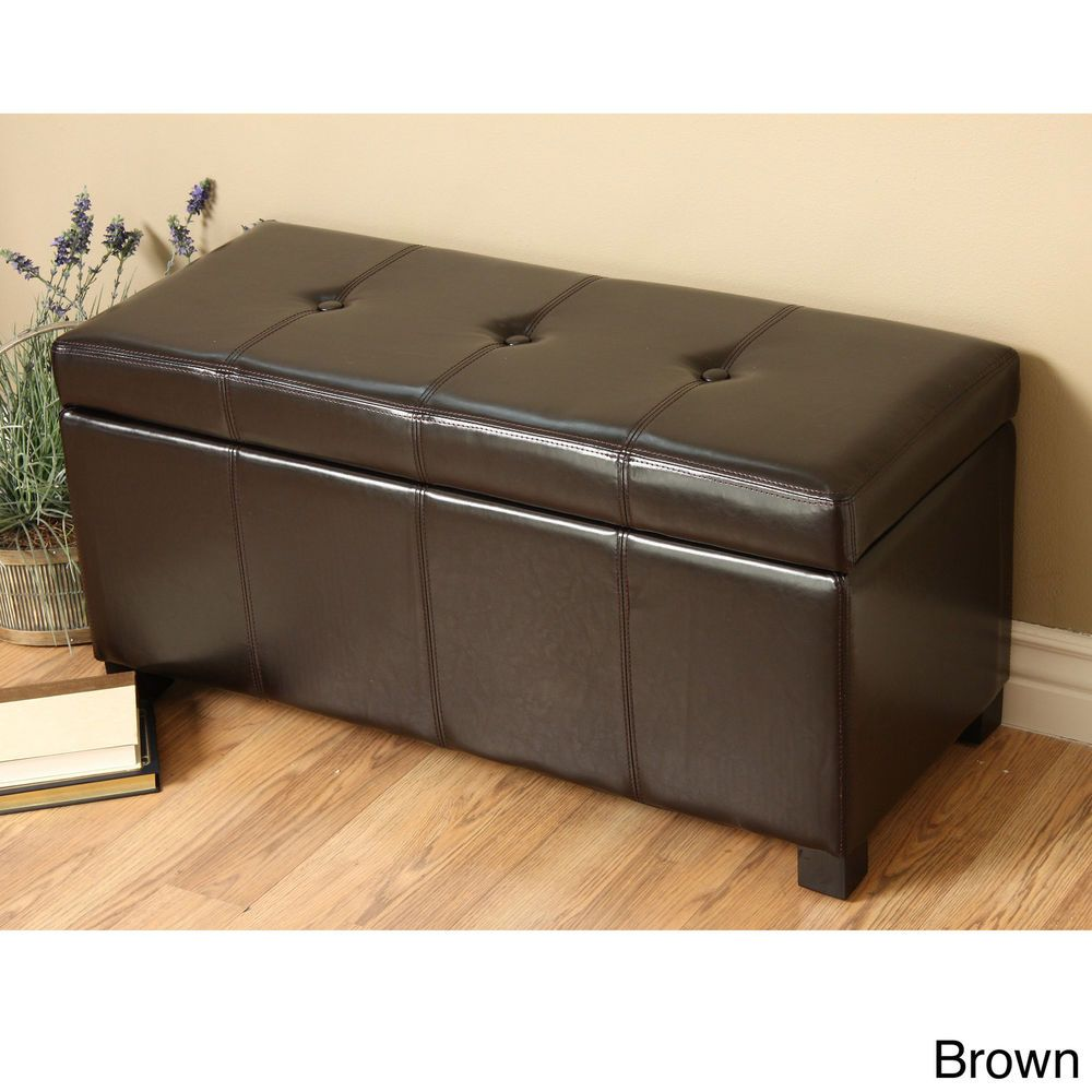 Brown Faux Leather Storage Bench Ottoman Footstools Storage Ottoman Storage Leather Storage Bench Upholstered