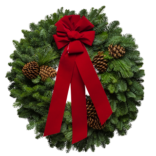 """25"""" Deluxe Christmas Wreath.  Christmas is sights and smells, memories and traditions. The Deluxe Christmas wreath captures them all with the fresh aroma of the evergreens, the earthy delight of the Ponderosa Pine and the welcoming warmth of the striking red ribbon. This timeless classic wreath truly displays the care and craftsmanship of the Christmas Forest elves! Click Image to Order. Posted via BuyDirectUSA.com #Christmas #Wreaths #MadeinUSA #HolidayDecor #HomeDecor"""