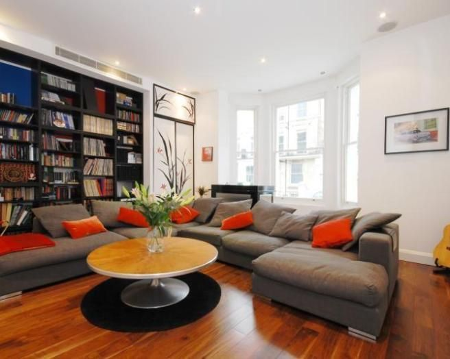 Photo of contemporary japanese beige black grey orange - Grey and orange living room ...