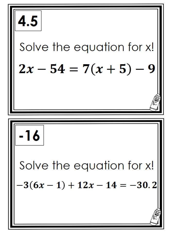 MultiStep Equation Scavenger Hunt Teaching math