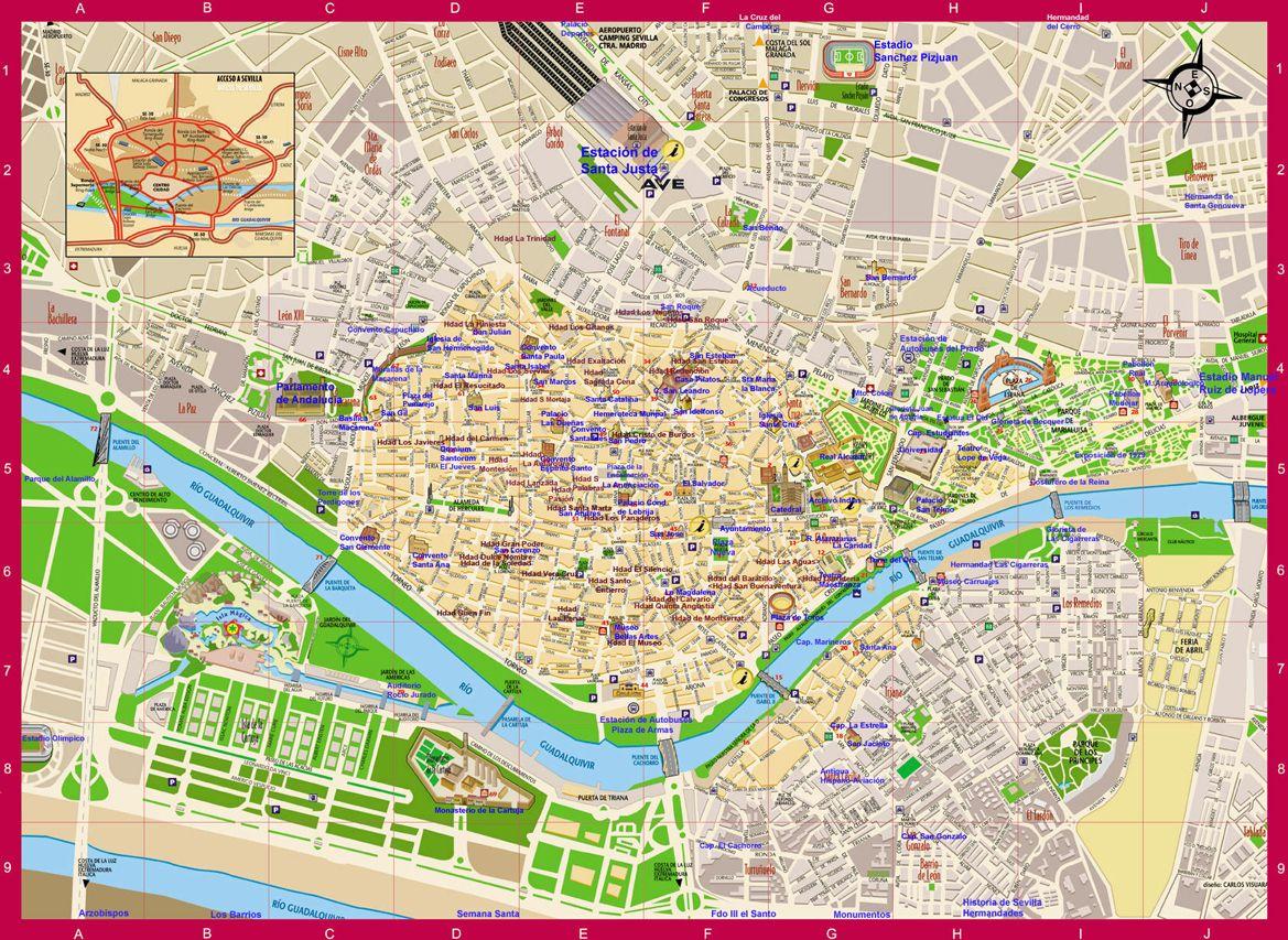 Map Of Sevilla Map Spain Mapa Owje Com