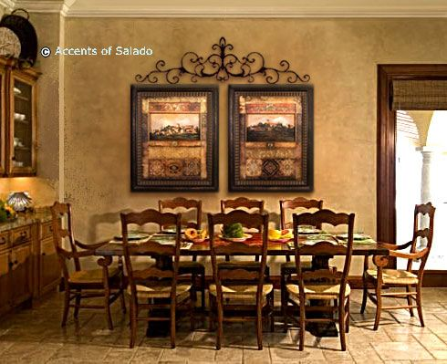 Pretty Tuscan Dining Room Combining The White And Dark Mouldings