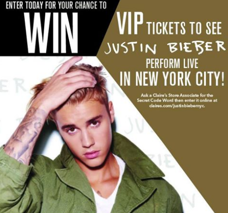 Claires win a trip for 2 to nyc to see justin bieber in concert claires is offering you the chance to win an experience of a lifetime enter now and you could win vip tickets to justin biebers dont miss m4hsunfo Images