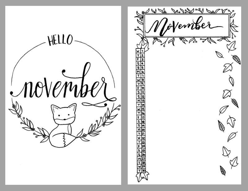 November Journal Coloring Page