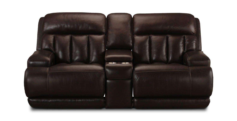 Superb Nitro Leather Power Reclining Loveseat With Console Man Machost Co Dining Chair Design Ideas Machostcouk