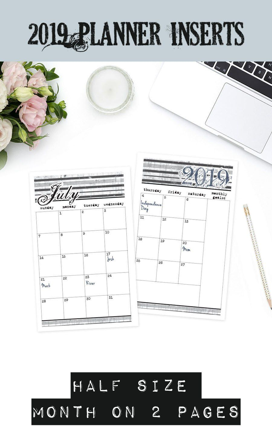 Printable Victorian 2019 Half Size Planner Month On 2 Pages Dated
