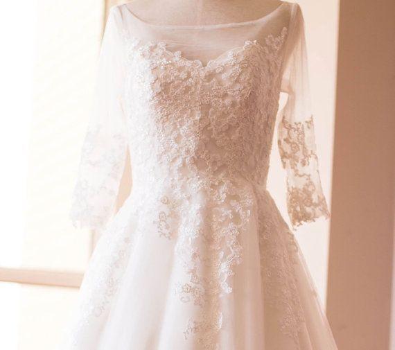 Einfache Retro elegante Langarm Kleid Brautkleid mit French Spitze ...