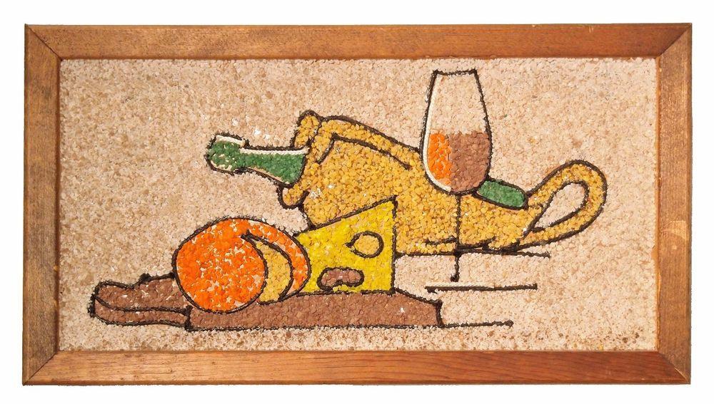 Vintage Mid Century Gravel Pebble Art Wine & Cheese Wall Decor ...