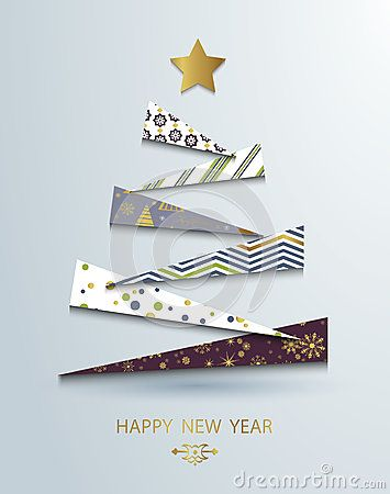 Happy new year template Abstract christmas tree background - greeting card template