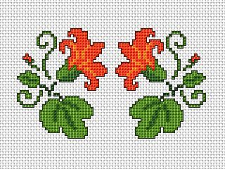 Floral Motif x2 free cross stitch pattern #fashiontag