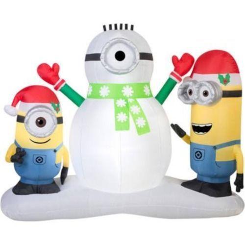 7 Feet Inflatable Minion Building Snowman Christmas Lighted Yard