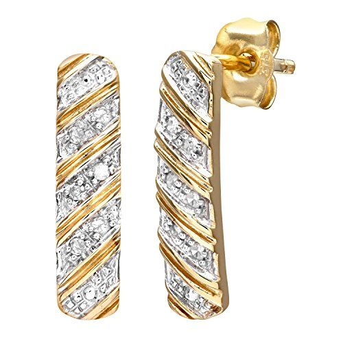 Naava 9 Ct Yellow Gold Women S 5 Pt Diamond Earrings Uk